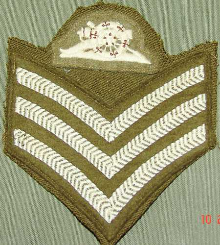 3a.British Sgt. Of Artillery sleeve insignia. $50.00